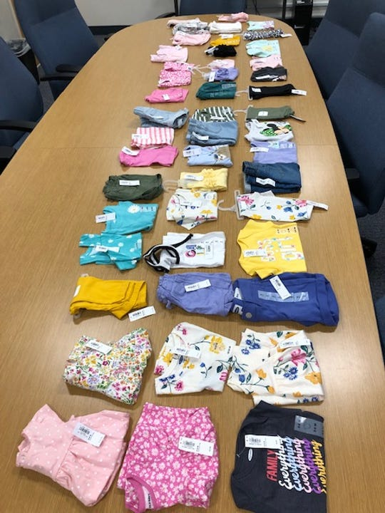 Evidence found during an arrest of a shoplifting suspect by Simi Valley police officers on Tuesday.