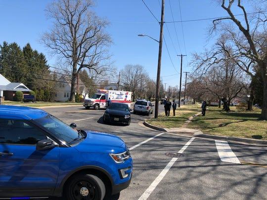The city's EMS takes a pedestrian to inspira Medical Center Vineland after a collision April 3, 2019 on East Chestnut Avenue, Vineland