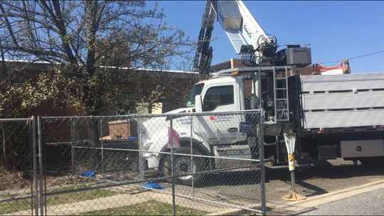 Drywall installation was on the work schedule on Wednesday in a South State building at what in a few months will be the headquarters of Vineland's Emergency Medical Services Division. Here, on the Howard Street side, a truckload of drywall is dropped off.
