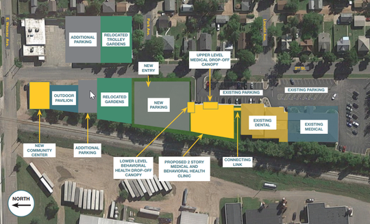 A map of Bridge Community Health Clinic's expansion plan shows where new parking lots and relocated community gardens will be on the city's north side by Thrive Foodery and the Athletic Park.