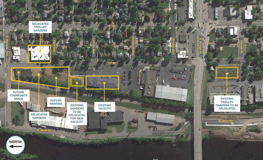 A map of Bridge Community Health Clinic's expansion plan shows where new and existing  services will be located.