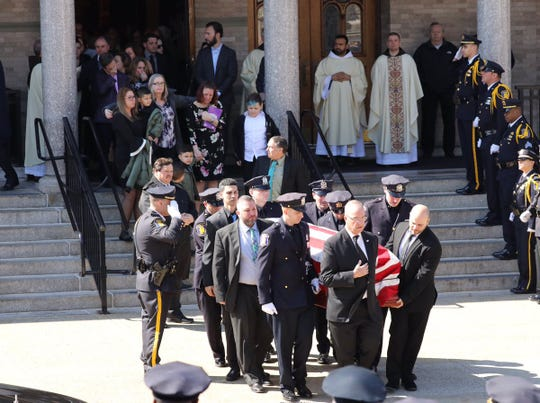 Mourners gathered at Monastery Church of the Sacred Heart in Yonkers on April 3, 2019, for the funeral of Thomas Goff. The 33-year-old Yonkers police officer died unexpectedly while off-duty on March 30, 2019.