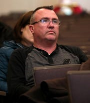 Suffern parent Andrew Dale attends a Suffern School Board meeting at Suffern Middle School on April 2, 2019.