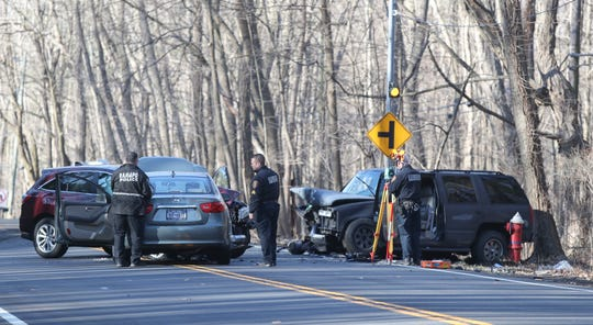 Ramapo Police investigate an early morning 3-car accident on Rt. 202 near Lime Kiln Rd. in  Ramapo on Wednesday, April 3, 2019.