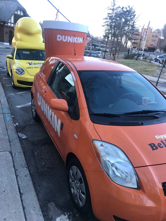 Dunkin' showed off its coffee car and peeps mobile on Wednesday, April 3 in Hartsdale.