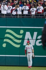 Fans let their feelings be known for Philadelphia Phillies right fielder Bryce Harper Tuesday.
