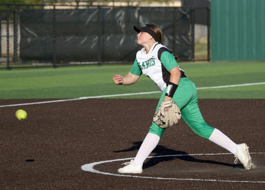 Iowa Park's Raylea Parsons pitches against Burkburnett Tuesday, April 2, 2019, in Iowa Park.