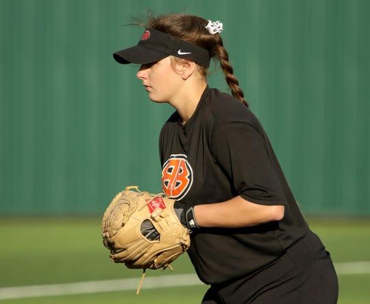 Burkburnett's Jocelyn Bright pitches against Iowa Park Tuesday, April 2, 2019, in Iowa Park.