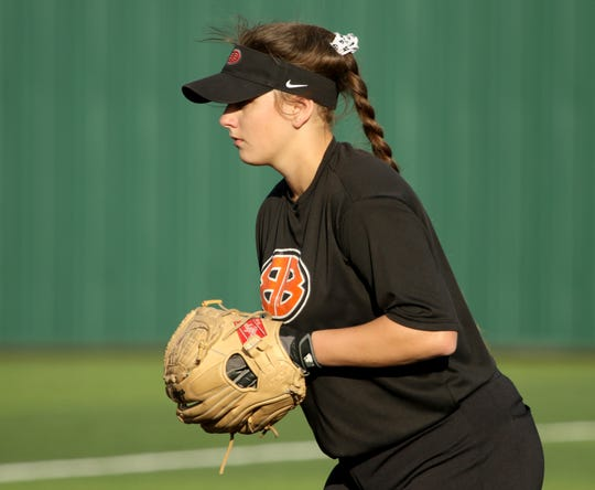 Burkburnett's Jocelyn Bright pitches against Iowa Park Tuesday, April 2, 2019, in Iowa Park.