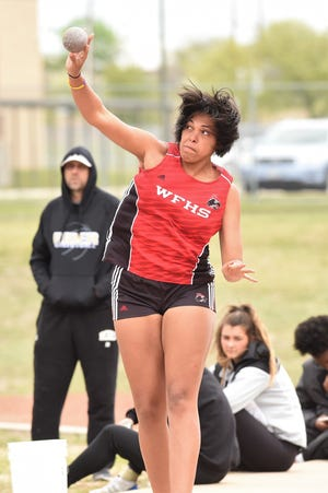 Wichita Falls High School's Jada Jackson won a silver medal in the shot put and gold in the discus.