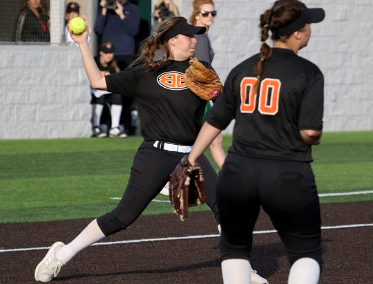 Burkburnett's Kelsea Armstrong throws to second in the game against Iowa Park Tuesday, April 2, 2019, in Iowa Park. The Bulldogs defeated the Haeks 5-1.