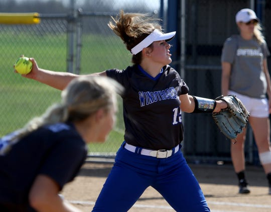 Windthorst's Laynie Brown pitches against Archer City Tuesday, April 2, 2019, in Windthorst.