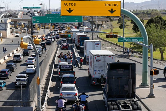Cars and trucks line up to enter Mexico from the U.S. at a border crossing in El Paso, Texas, Friday, March 29, 2019. Threatening drastic action against Mexico, President Donald Trump declared on he may shut down America's southern border next week unless Mexican authorities immediately halt all illegal immigration