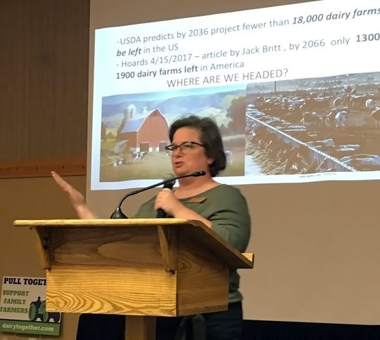 Wisconsin Farmers Union Special Projects Director and Wisconsin Dells dairy farmer Sarah Lloyd Gabe gives a rousing call to action at the end of the Eau Claire event.