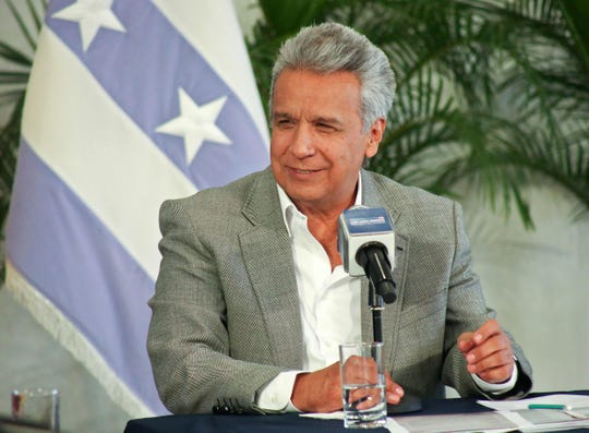 This handout photo released by the Ecuadorean Presidency press office shows Ecuadorean President Lenin Moreno speaking during an interview with local radio journalists on Wikileaks founder Julien Assange in Guayaquil, Ecuador on April 2, 2019.