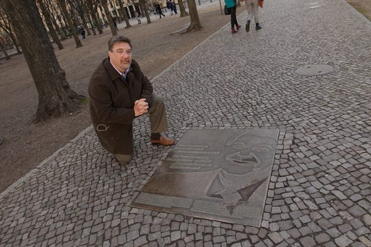 "Author in Berlin on March 26, 2019, at a memorial to President Ronald Reagan where he gave his ""Tear Down This Wall"" speech."