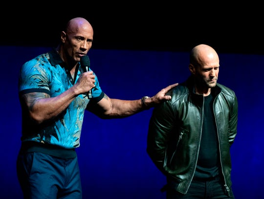 """Hobbs & Shaw"" actors Dwayne Johnson, left, and Jason Statham appear onstage during Universal's CinemaCon presentation on Wednesday."