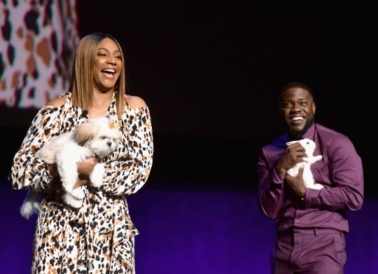"Tiffany Haddish and Kevin Hart were accompanied by their pet alter egos while promoting ""The Secret Life of Pets 2"" at CinemaCon in April 2019."