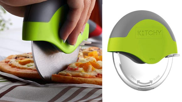 Stop using knives and scissors to cut your pizzas at home. This wheel is crazy easy to use (and clean).