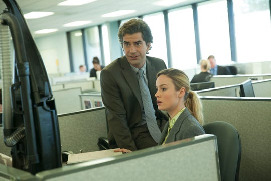 Brie Larson plays Kit, a dreamer who doesn't want to settle for a dull desk job and a creepy boss (Hamish Linklater, left).