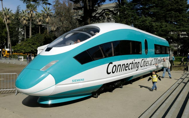 This 2015 photo shows a a full-scale mock-up of a high-speed train that was displayed at the Capitol in Sacramento.
