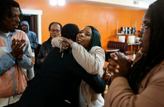 Michael Brown's mother Lesley McSpadden embraces her brother Courtney McSpadden during McSpadden's election night watch party after losing the Ferguson City Council race at Sweetie Pie's in Dellwood on Tuesday, April 2, 2019, in St. Louis. Her son died in a police shooting that helped give rise to the national Black Lives Matter movement. McSpadden finished third in a three-way race in Ferguson's 3rd Ward.