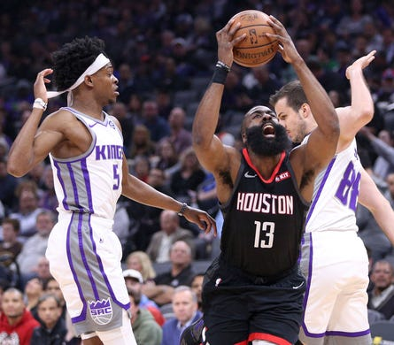 April 2: Houston Rockets guard James Harden is fouled while driving to the hoop against the Sacramento Kings in the first quarter at Golden 1 Center. The Rockets won the game, 130-105.