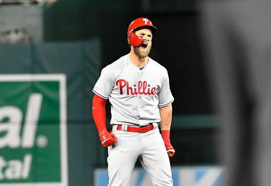 Harper reacts after hitting an RBI single in the sixth inning.