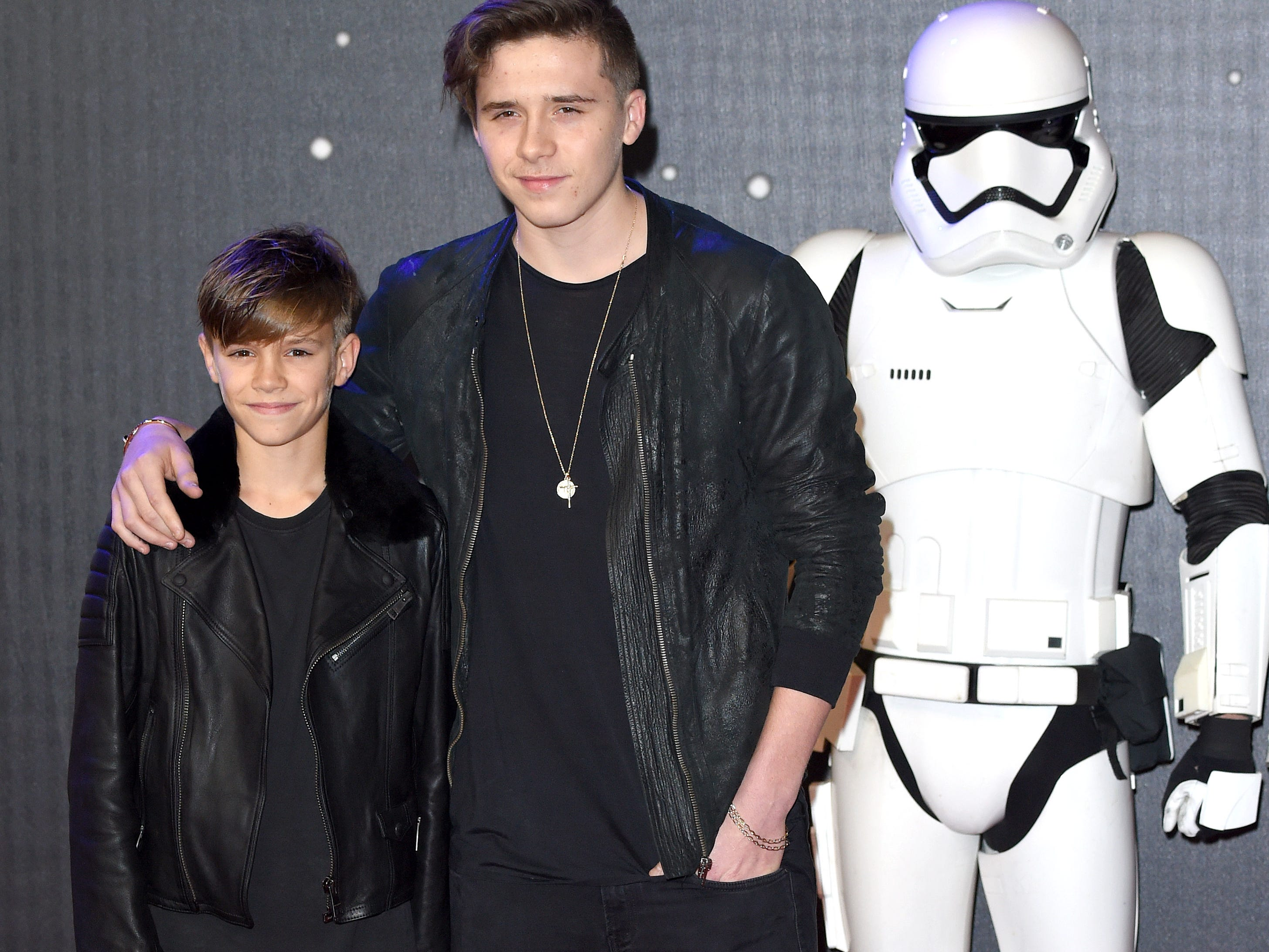 "LONDON, ENGLAND - DECEMBER 16:  Romeo Beckham and Brooklyn Beckham attend the European Premiere of ""Star Wars: The Force Awakens"" at Leicester Square on December 16, 2015 in London, England.  (Photo by Karwai Tang/WireImage) ORG XMIT: 596088975 ORIG FILE ID: 501981140"