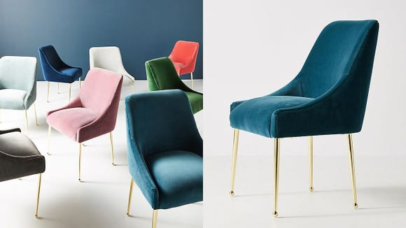 These velvet chairs are stunning together or separately and we want them all.