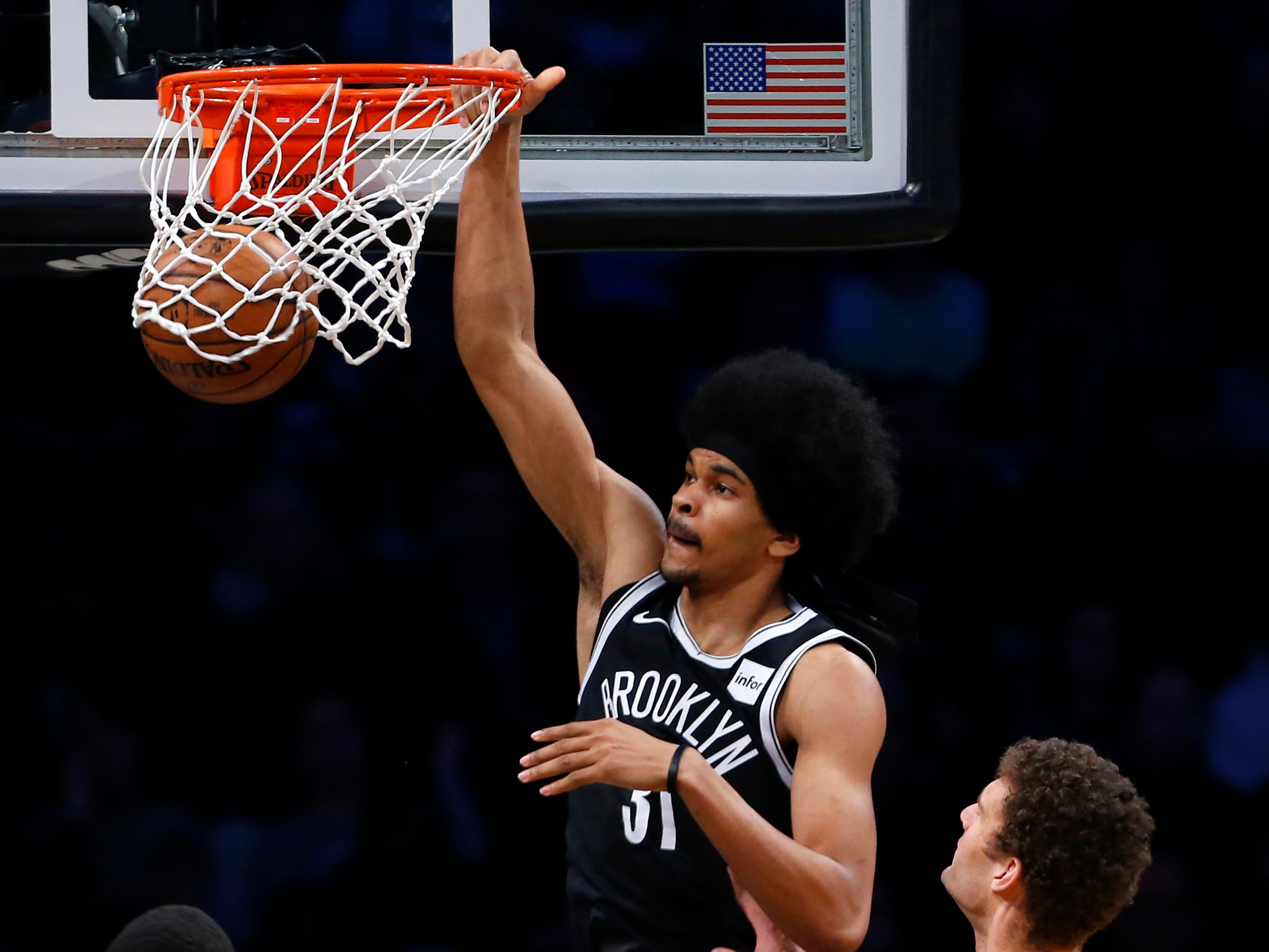 April 1: Brooklyn Nets center Jarrett Allen dunks against the Milwaukee Bucks at Barclays Center.