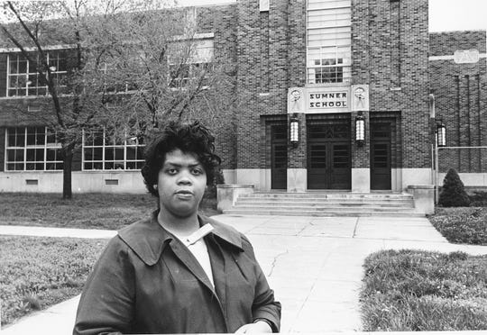 "Linda Brown Smith stands in front of the Sumner School in Topeka, Kansas, on May 8, 1964. The refusal of the public school to admit Brown in 1951, then 9 years old, because she is black, led to the Brown v. Board of Education of Topeka, Kansas. In 1954, the U.S. Supreme Court overruled the ""separate but equal"" clause and mandated that schools nationwide must be desegregated. Saturday marks the 60th anniversary of the landmark Brown v. Board of Education decision."