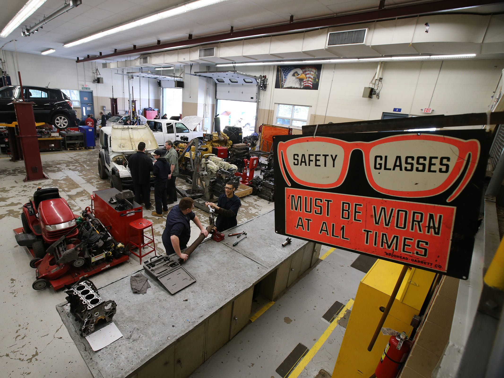 Students work in their diesel engine technology class at Ocean County Vocational Technical School in Jackson, NJ Thursday, April 4, 2019.