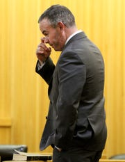 Long Branch police officer Patrick Joyce is shown before pleading guilty to a petty disorderly persons offense related to an assault on a woman at a party. Because of the plea made before Judge Paul X. Escandon in State Superior Court in Freehold Thursday, April 4, 2019, he must forfeit his job.
