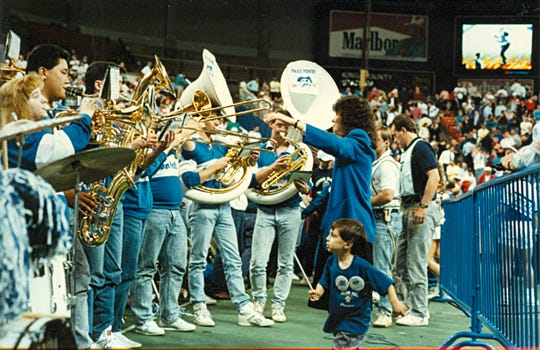 Seton Hall's band playing the national anthem before the 1989 national title game.
