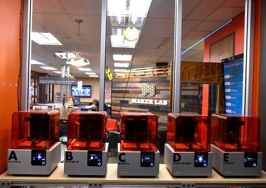 Three-D printers at rest in the Abilene Christian University Maker Lab.