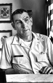 Col. Sam Barrett, Dyess Air Force Base 463rd Tactical Airlift Wing commander in April 1976.