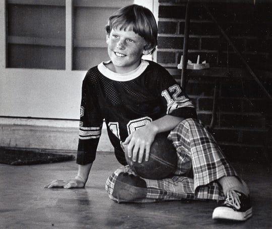 Sam Barrett, 9, son of Dyess Air Force Base Col. Sam Barrett in October 1975.