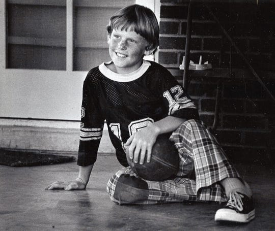 Sam Barrett, 9, son of Dyess Air Force Base Col. Sam Barrett in October 1975.