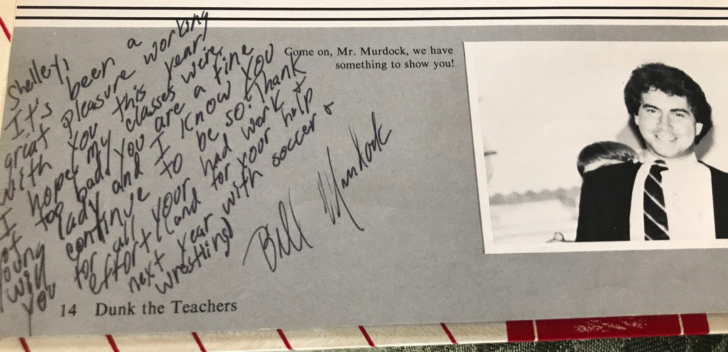A note Bill Murdock wrote to Shelley Baldwin in her eighth-grade yearbook.