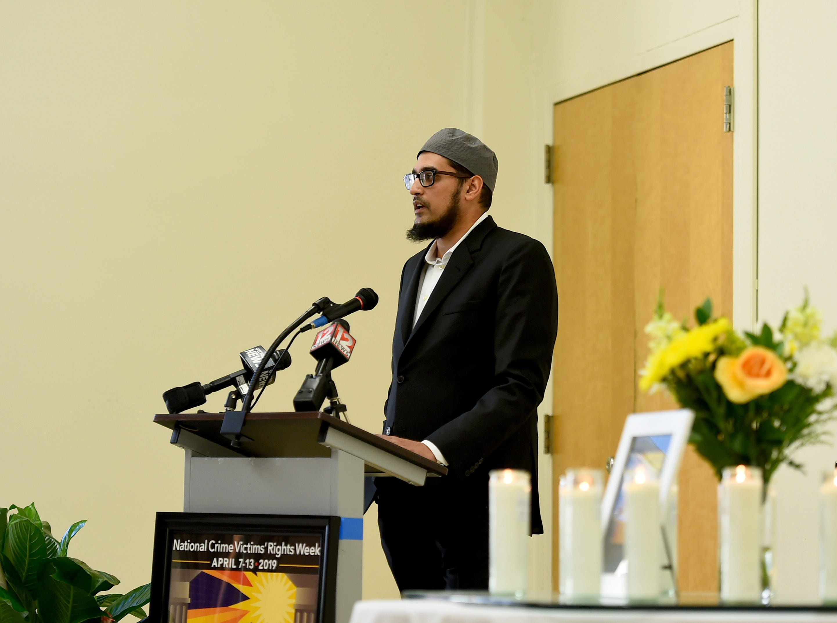 Imam Anas Sheikh speaks during the American Civic Association's evening service and vigil. The event marked the tenth anniversary of the mass shooting which took place at the Binghamton immigration center.  April 3, 2019.