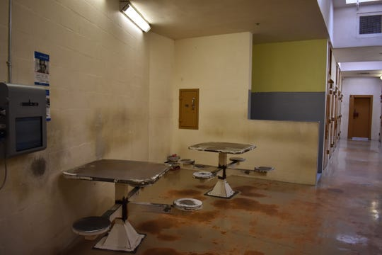 Built in 1985, this hall in the Mason County Jail was designed to sleep seven inmates. The hall, which now houses minimum-security inmates, holds 14.