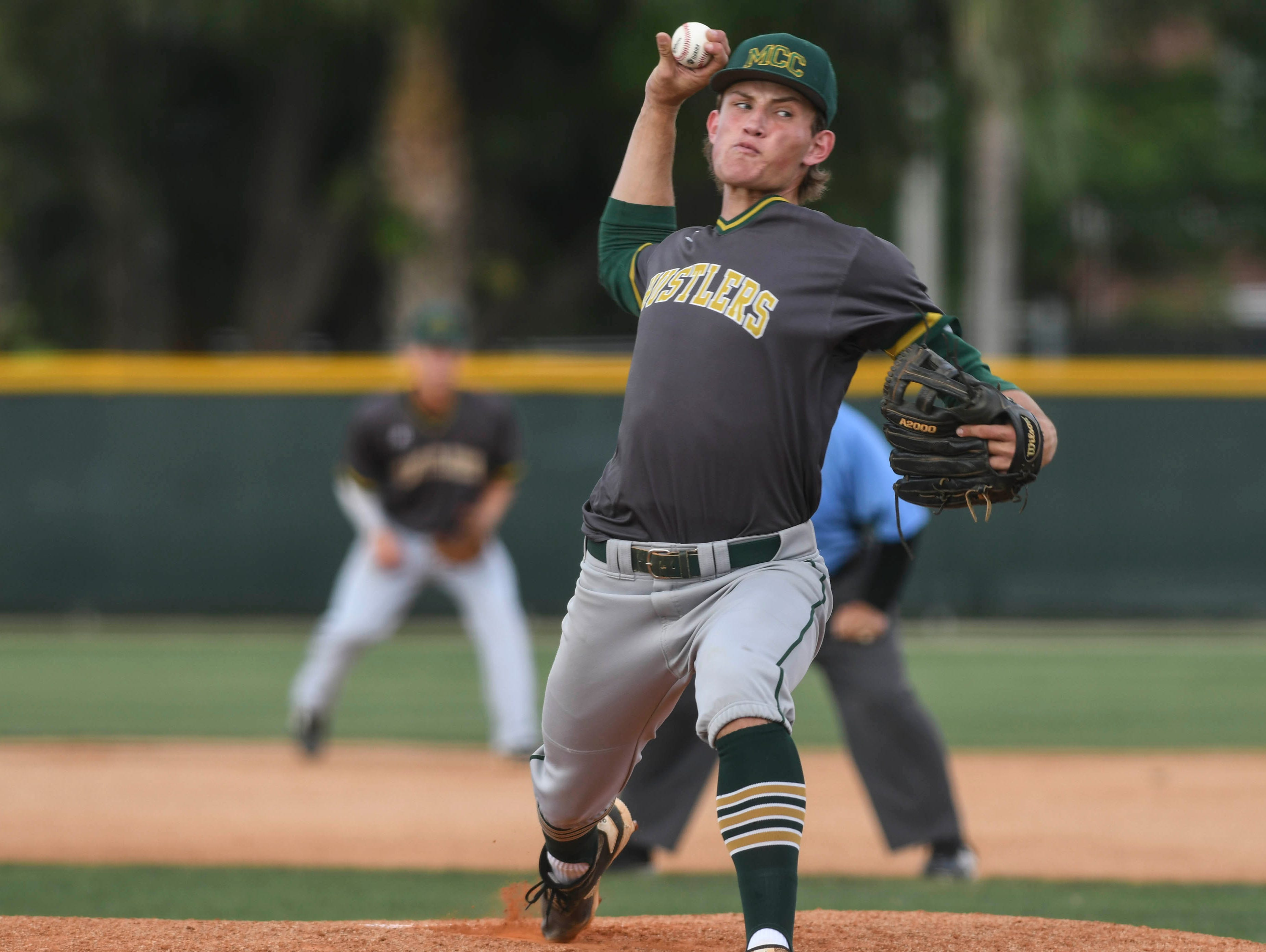 Nick Durgin pitches for Melbourne Central Catholic during Wednesday's game against Melbourne.