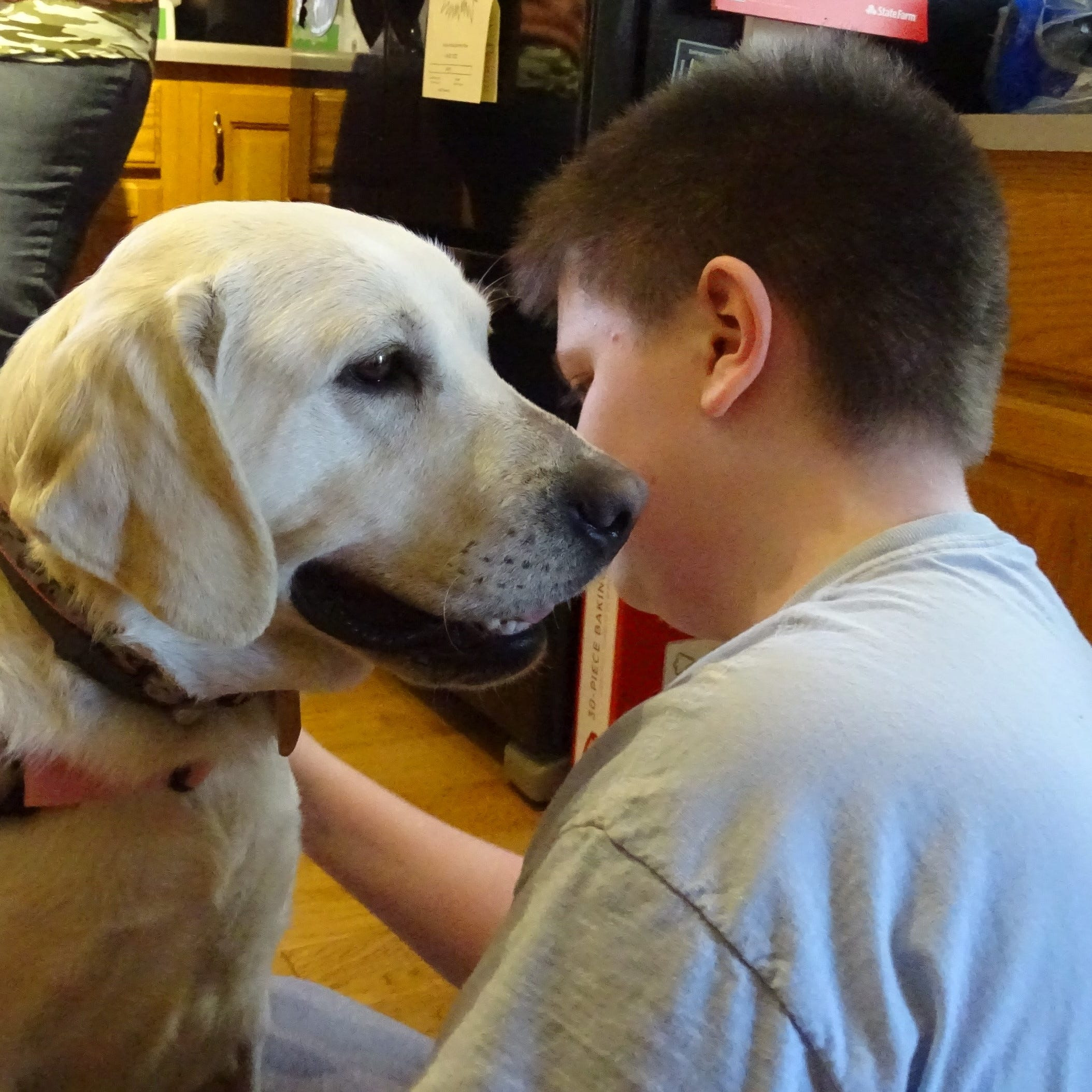 New Washington boy greets the service dog who's come to change his life