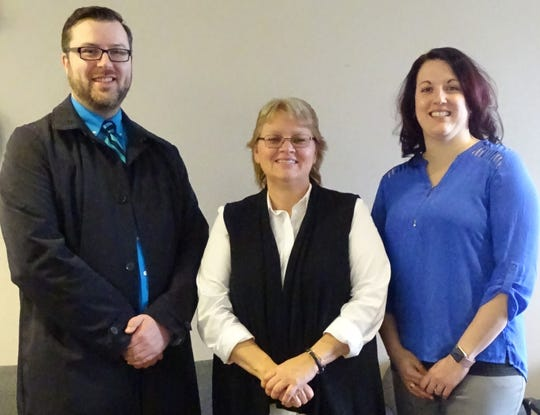 Jared Pollick, CEO of Third Street Family Health Services, Cindy Wallis, executive director of Community Counseling Services; and Nicole Williams, chief operating officer of Third Street, are working together on plans for a new primary care clinic in Bucyrus.