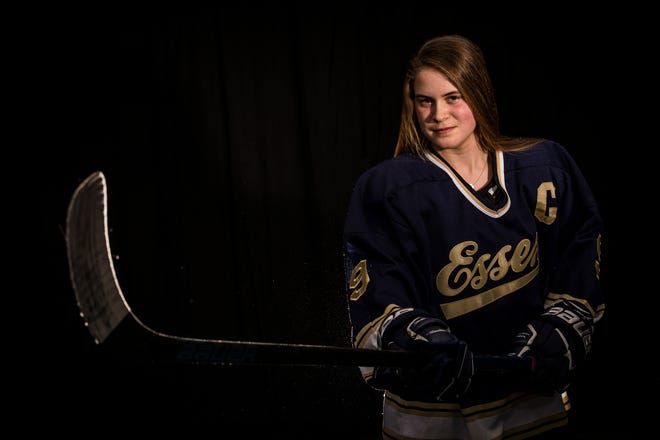 Olivia Miller-Johnson is this year's Burlington Free Press' Miss Hockey. The Essex senior tallied 25 goals and 21 assists in leading the Hornets to the Division I crown.