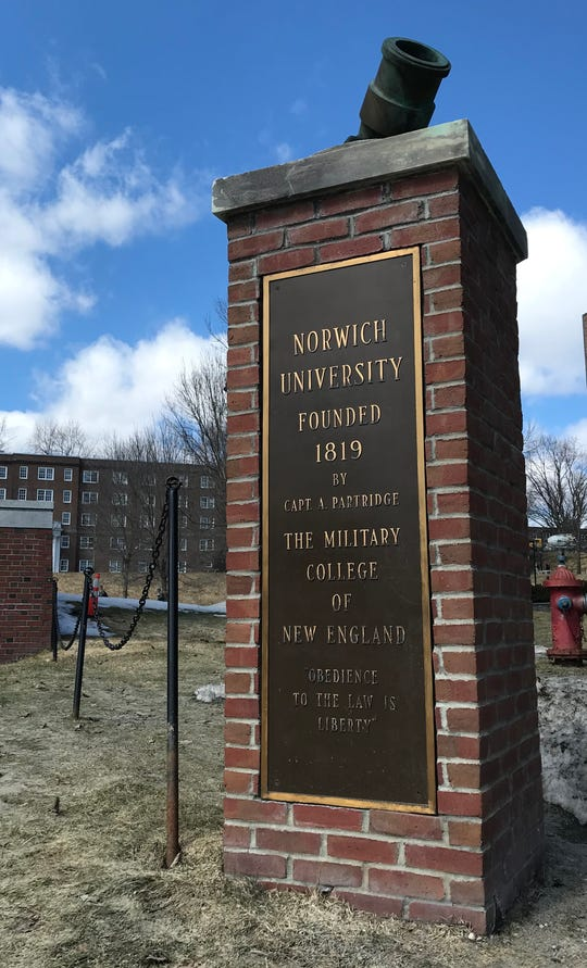 Norwich University pictured on April 4, 2019, was founded in 1819, according to a placard on campus.