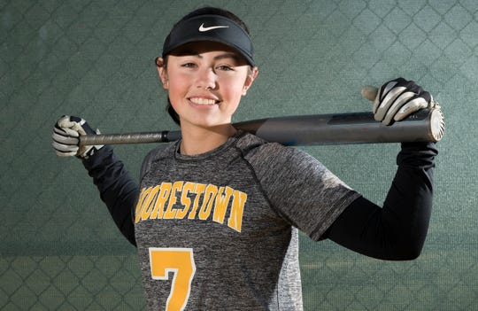 Moorestown's Erika Heffernen, once a bat girl for the Moorestown High School softball team, is quickly closing in on 100 career hits.