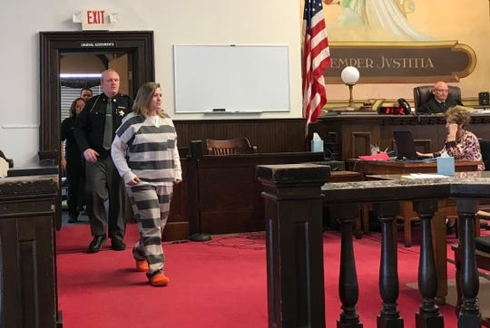 Angela Wagner appears for the first time without visible restraints for her pretrial hearing on March 20, 2019.