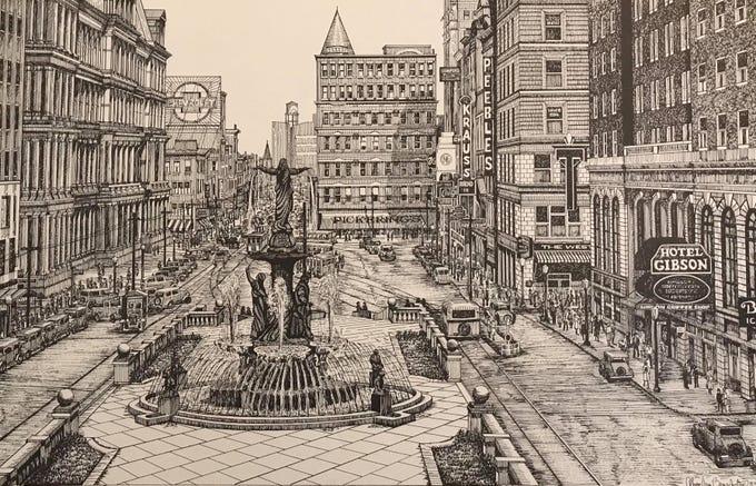 This is Cincinnati's Fountain Square, circa 1932, as drawn by Thom Van Benschoten.